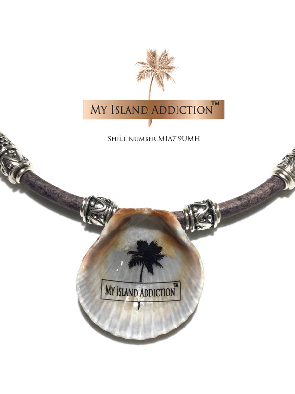 Inner Peace Leather Shell Choker Necklace MIA719UMH Ultimate Moonie Halo