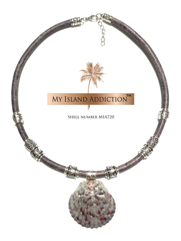 My Island Addiction LLC Moonlight Leather Shell Choker Necklace MIA720