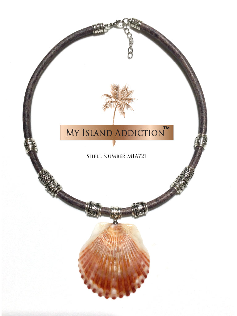 Sanibel Leather Shell Choker Necklace MIA721UMH