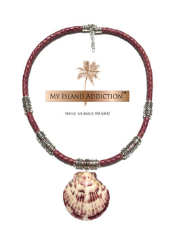 My Island Addiction LLC Braided Leather Sanibel Shell Chocker Necklace MIA802