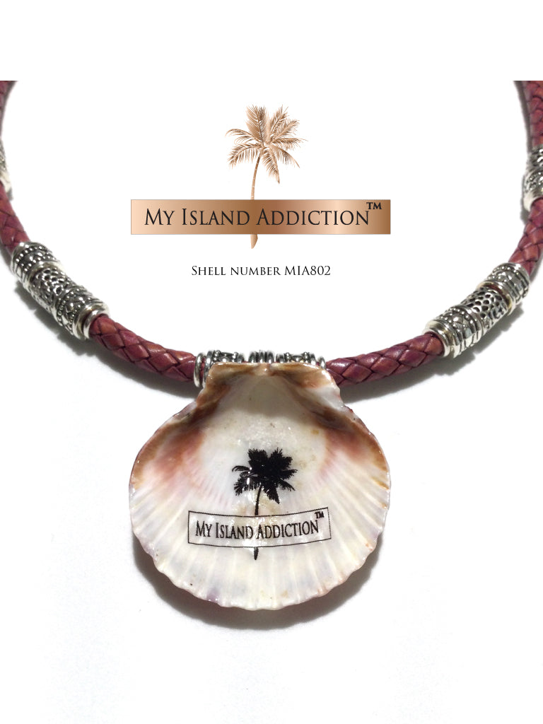 My Island Addiction LLC Braided Leather Sanibel Shell Chocker Necklace MIA802  Edit alt text