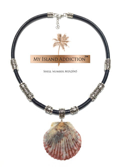 My Island Addiction LLC Leather Sanibel Shell Choker Necklace