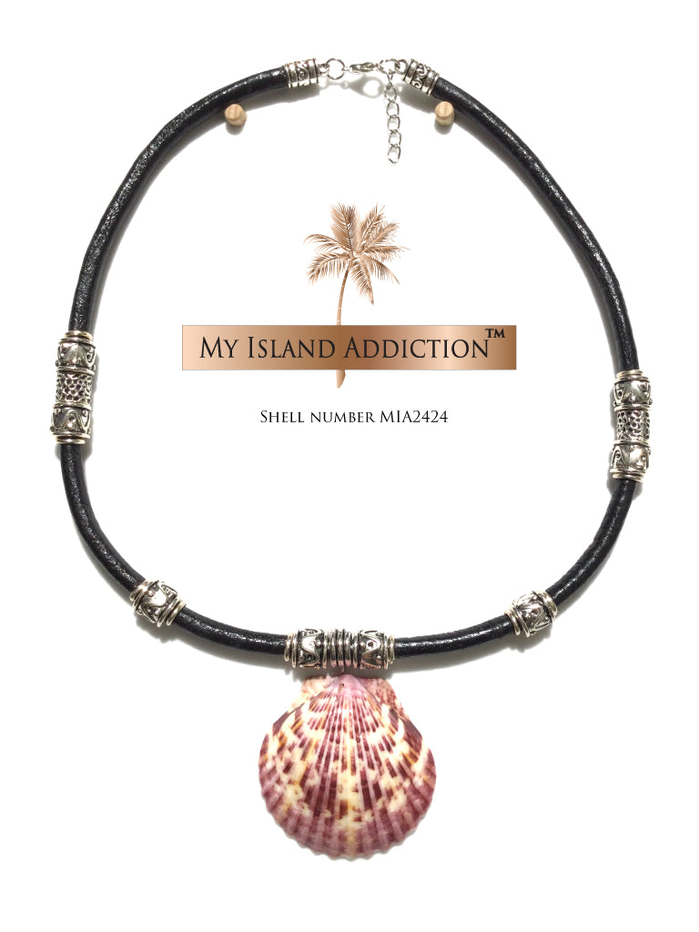 Leather Sanibel Shell Choker Necklace
