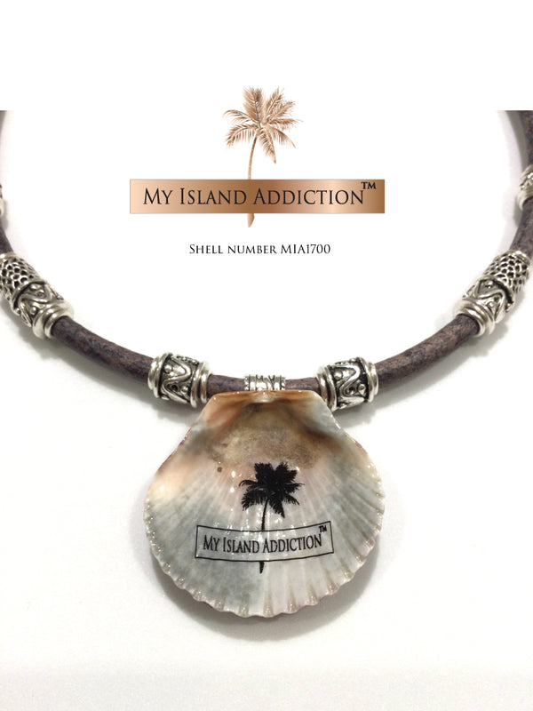 Leather Sanibel Shell Choker Necklace MIA1700