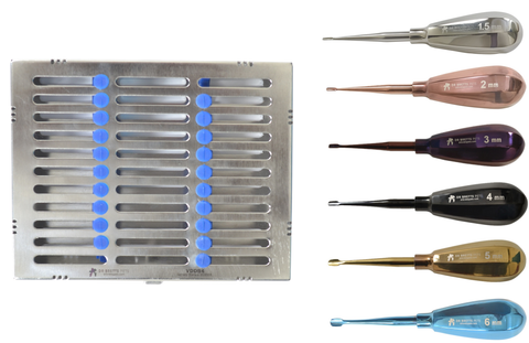 Veterinary Dental Instruments Color Coded Winged Luxator Elevator Set - Short Handle
