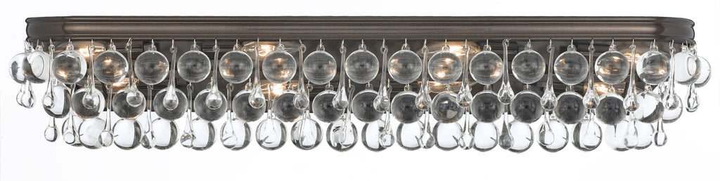 8 Light Vibrant Bronze Transitional Bathroom-Vanity Light Draped In Clear Glass Drops - C193-134-VZ