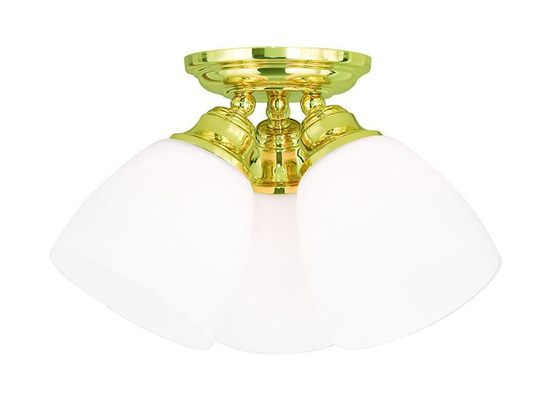 Livex Somerville 3 Light Polished Brass Ceiling Mount - C185-13664-02