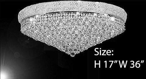 "Flush French Empire Crystal Chandelier H17"" X W36"" - Perfect For An Entryway Or Foyer - A93-Flush/Cs/541/32"