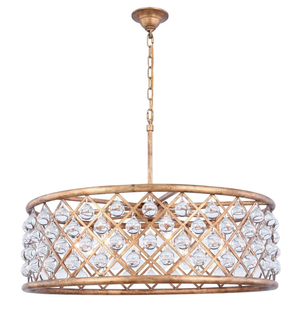 ZC121-1213D32GI/RC - Urban Classic: Madison 8 light Golden Iron Chandelier Clear Royal Cut Crystal