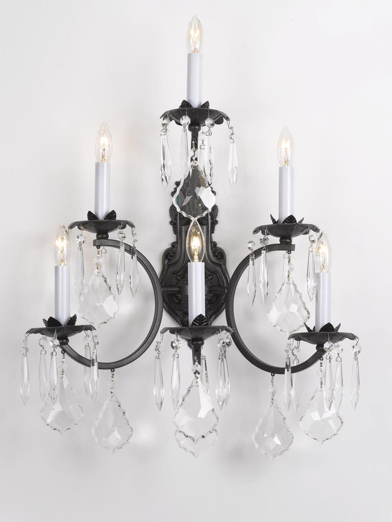 Image of: Wrought Iron Wall Sconce Crystal Wall Sconces Lighting 3 Tier W16 X H Gallery 67
