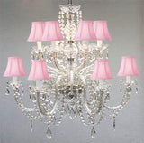 Swarovski Crystal Trimmed Chandelier Murano Venetian Style All-Crystal Chandelier With Pink Shades - F46-Sc/385/6+6/Pink Sw
