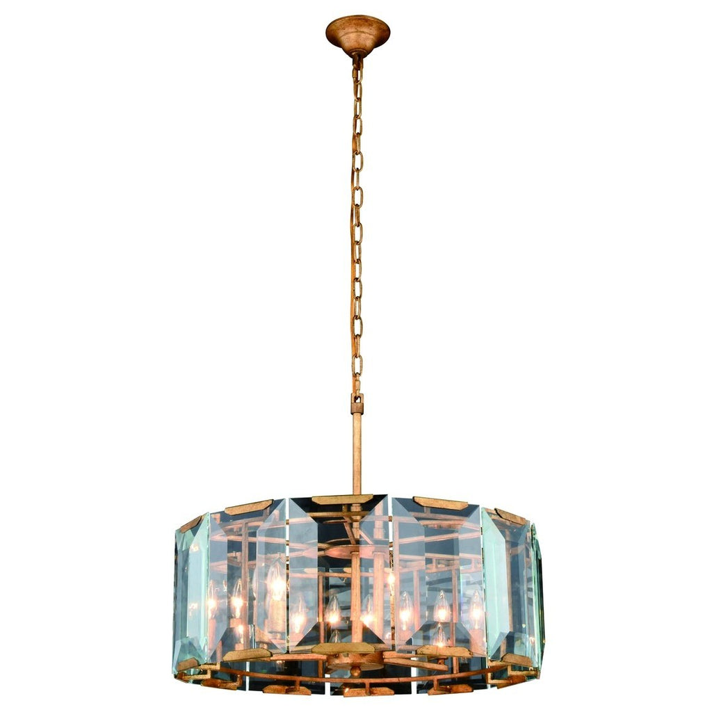 ZC121-1211D26GI - Urban Classic: Monaco 6 light Golden Iron Chandelier Clear Glass Crystal