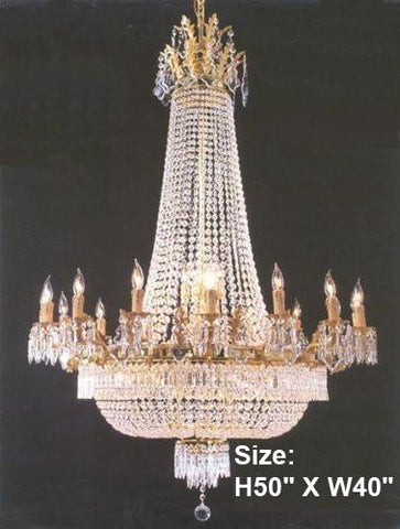 "French Empire Crystal Chandelier Lighting Gold H50"" X W40"" - Perfect For An Entryway Or Foyer - Go-A81-1280/14+7"