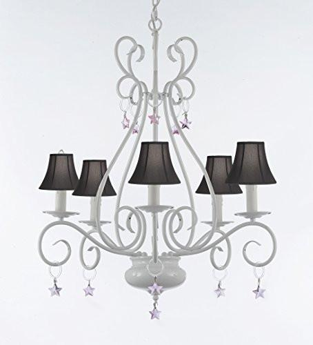 Wrought Iron Chandelier With Pink Stars With Black Shades - P7-Sc/White/B38/441/5/Blackshade