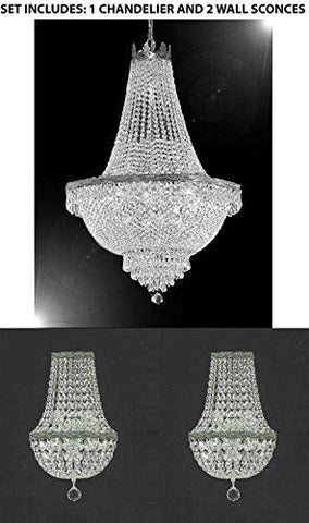 "Set Of 3 - 1 French Empire Crystal Chandelier Lighting H30"" X W24"" And 2 Empire Crystal Wall Sconce Crystal Lighting W 9.5"" H 18"" D 5"" - 1Ea-Silver/870/9 + 2Ea-Cs/4/5/Wallsconce"