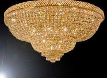 "French Empire Crystal Flush Basket Chandelier W/Swarovski Crystal H 29"" W 50"" - G93-Flush/Cg/448/48Sw"