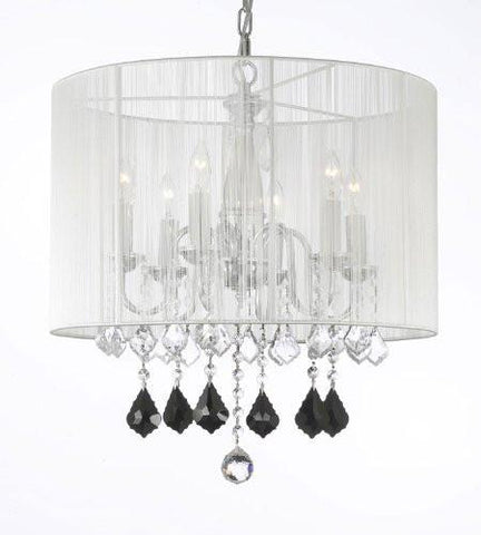 Crystal Chandelier W/ Large White Shade Jet Black Crystal Pendants - J10-B20/1126/6