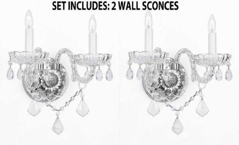Set Of 2 Murano Venetian Style Crystal Wall Sconces Lighting - 2Ea G46-B12/2/386
