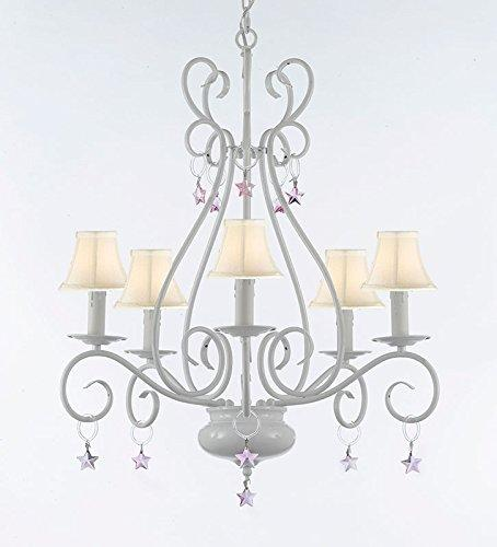 WROUGHT IRON CHANDELIER WITH PINK STARS With white Shades - P7-Sc/White/B38/441/5/Whiteshade