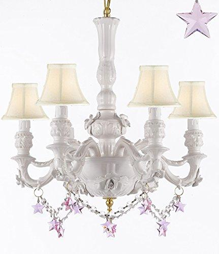 Authentic Capodimonte White Porcelain Chandelier Lighting Chandeliers Made in Italy, Good for Dining Room, Kids & Girls Bedrooms w/ Roses & Flowers Speciality item, W/ Pink Stars Crystals and White Shades - GB102-SC/WHITESHADE/B52/B38/WHITE/435/6