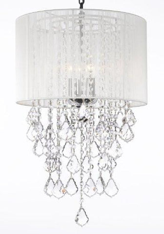 "Crystal Chandelier With Large White Shade H24"" X W15"" Trimmed With Spectra (Tm) Crystal - Reliable Crystal Quality By Swarovski - G7-B7/White/3/604/3Sw"