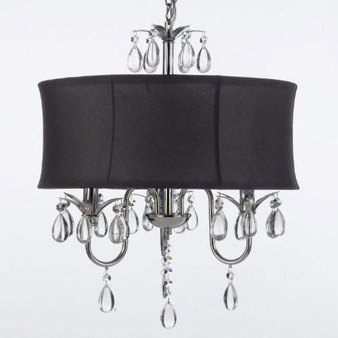 Modern Contemporary Black Drum Shade & Crystal Ceiling Chandelier Pendant Lightning Fixture - J10-Black/26032/3