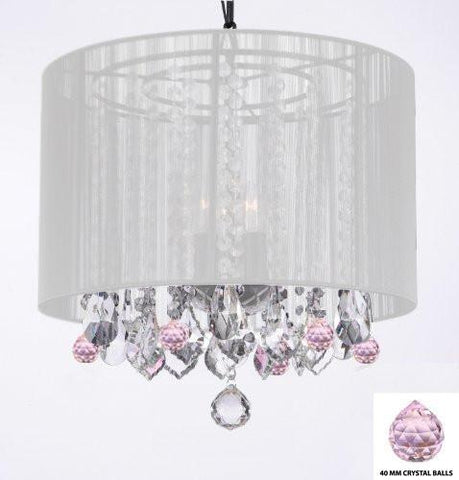"Crystal Chandelier Chandeliers With Large White Shade And Pink Crystal Balls H15"" X W15"" - Perfect For Kids' And Girls Bedrooms - G7-B76/White/604/3"