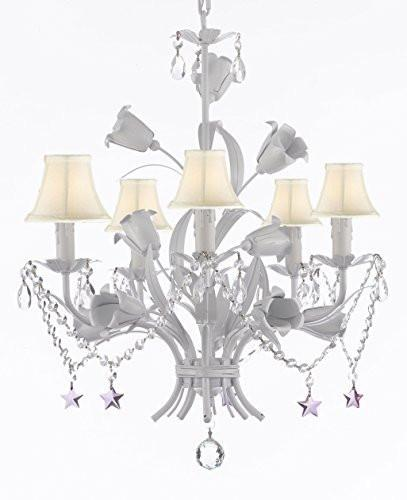 "White Wrought Iron Floral Chandelier Empress Crystal (Tm) Flower Chandeliers Lighting H23"" X W19"" With Shades - J10-Sc/Whiteshade/B51/B52/White/325/5"
