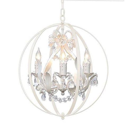 "White Wrought Iron Floral Chandelier Crystal Flower Chandeliers Lighting H 17.5"" X W 17.5"" - Placed Inside Of A Foucault'S Orb - Perfect For Kids' And Girls Bedrooms Kitchen And More - A7-B65/White/326/4"