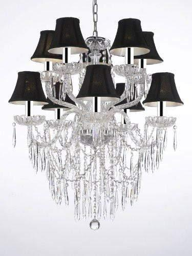"Crystal Icicle Waterfall Chandelier Lighting Dining Room Chandeliers H 30"" W 24"" with Black Shades w/Chrome Sleeves - G46-B43/BLACKSHADES/B27/1122/5+5"
