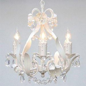 "Wrought Iron Floral Chandelier Crystal Flower Chandeliers Lighting H15"" X W11"" Swag Plug In-Chandelier W/ 14' Feet Of Hanging Chain And Wire - A7-B17/White/Cl/326/4"