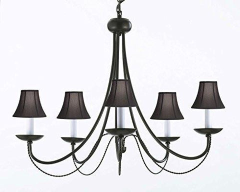Swag plug in chandeliers gallery 67 wrought iron chandelier lighting with black shades h22 x w26 swag plug in aloadofball