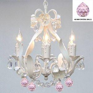 White Iron Crystal Flower Chandelier Lighting W/ Pink Crystal BallsSwag Plug In-Chandelier W/ 14' Feet Of Hanging Chain And Wire - Perfect For Kid'S And Girls Bedroom - J10-B17/B76/White/326/4