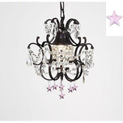 "Wrought Iron Empress Crystal(Tm) Chandelier Lighting With Pink Stars H14"" W11"" - J10-B38/26030/1"