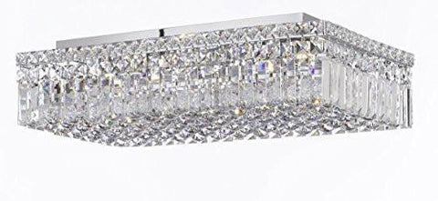 "Modern Contemporary Flush Rectangular Empress Crystal (Tm) Chandelier Lighting W12"" H5"" L24"" - Cjd-Cs/2188/24"