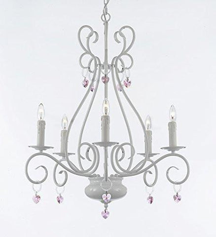 Wrought Iron Chandelier With Pink Hearts - P7-/White/B21/441/5