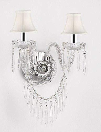 Murano Venetian Style All-Crystal Wall Sconce! and - with White Shades W/Chrome Sleeves - G46-B43/WHITESHADES/B27/2/386