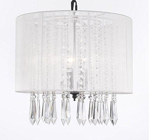 "Crystal Chandelier Lighting Empress Crystal (Tm) Chandeliers With Large White Shade H15"" X W15"" - G7-B27/White/604/3"