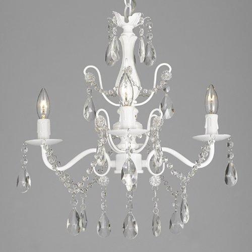 "Wrought Iron and Crystal 4 Light White Chandelier H 14"" X W 15"" Pendant Fixture Lighting Ceiling Lamp Hardwire and Plug In - J10-SCL-01490CW"