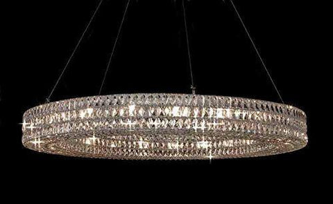 "Crystal Nimbus Ring Chandelier Modern / Contemporary Light 59"" W - Good For Dining Room Foyer Entryway Family Room Etc H6.5"" X W59"" - Gb104-3063/21"