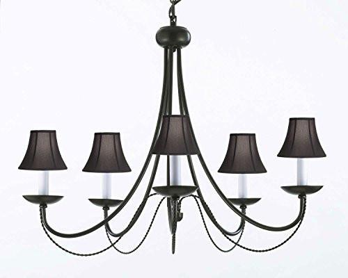 "Wrought Iron Chandelier Lighting With Black Shades H22"" X W26"" - J10-Blackshades/26031/5"
