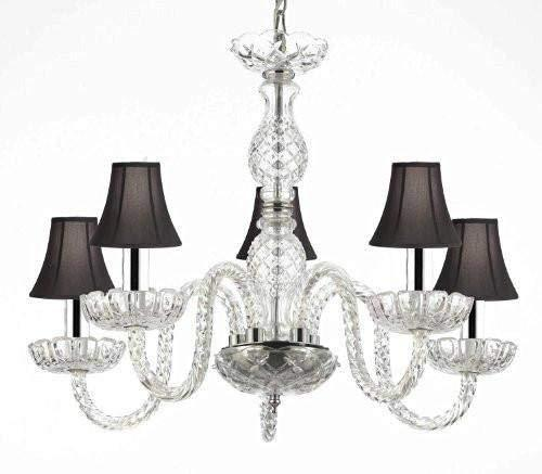 "Murano Venetian Style Crystal Chandelier Lighting with Black Shades W/Chrome Sleeves H 25"" W 24"" - G46-B43/BLACKSHADES/B11/384/5"