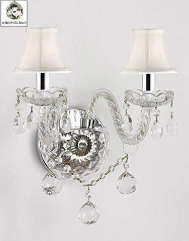 Swarovski Crystal Trimmed Wall Sconce! Murano Venetian Style All-Crystal Wall Sconce with Crystal Balls and - with White Shades w/Chrome Sleeves - G46-B43/WHITESHADES/B6/2/386 SW
