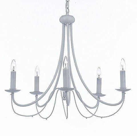 Wrought Iron Chandelier Lighting Country French White 5 Lights Ceiling Fixture Light Wrought Country French - J10-403/5-white