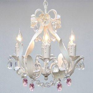 White Iron Crystal Flower Chandelier Lighting W/ Pink Crystal HeartsSwag Plug In-Chandelier W/ 14' Feet Of Hanging Chain And Wire - Perfect For Kid'S And Girls Bedroom - J10-B17/B21/White/26027/4