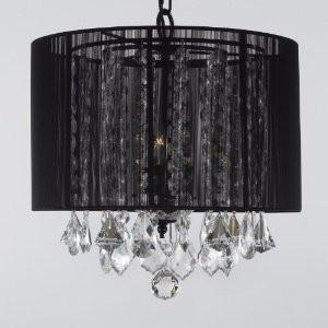 "Crystal Chandelier With Large Black Shade H15"" X W15"" Swag Plug In-Chandelier W/ 14' Feet Of Hanging Chain And Wire - F9-B16/Black/Sm/604/3"
