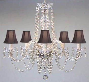 Authentic All Crystal Chandelier With Black Shades - A46-Blackshades/384/5
