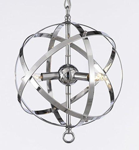 Spherical Orb Chandelier Lighting Chrome Finish - G7-2155/3