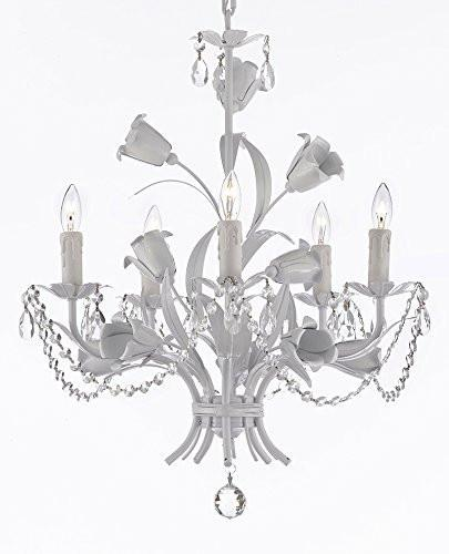 "White Wrought Iron Floral Chandelier Empress Crystal(Tm) Flower Chandeliers Lighting H23"" X W19"" - A7-B39/B52/White/325/5"