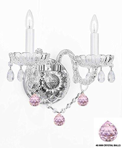 Wall Sconce Lighting With Crystal Pink Balls - Perfect For Kids And Girls Bedrooms - G46-B76/2/386
